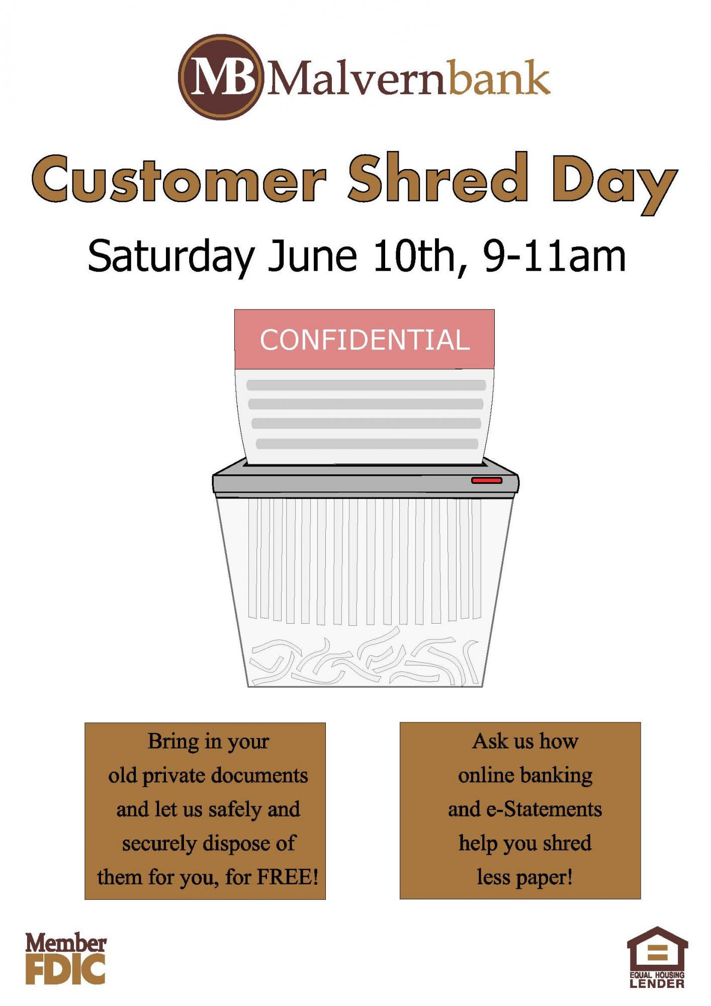 Paper shredder advertisement for shred day on 6/10/17